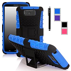 E LV Motorola Droid Maxx (Late 2013) XT1080M Hybrid Dual Layer Armor Protective Case Cover with Kickback Stand with 1 Stylus and 1 E LV Microfiber Digital Cleaner (Dark Blue)