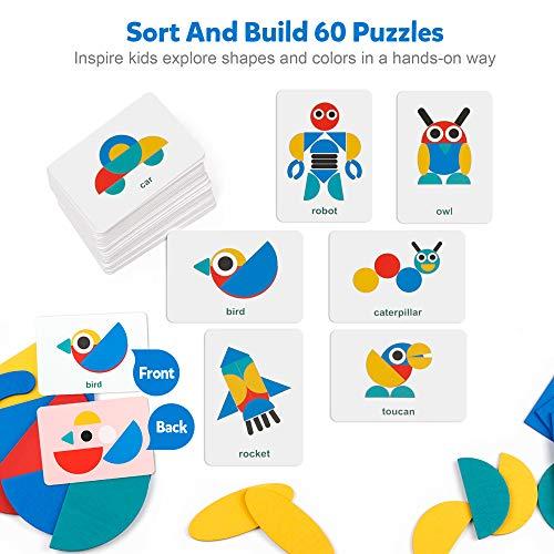 Coogam Wooden Pattern Blocks – Tangram Shape Puzzle Set Color Sorting Stacking Game Wood Animal Jigsaw Preschool…