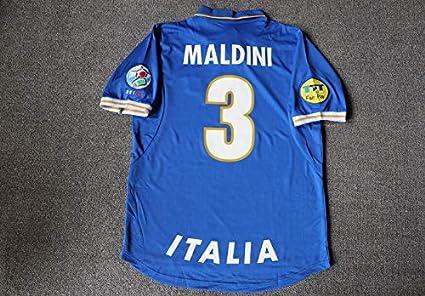39488b44fac Amazon.com   Retro Maldini 3 Italy Home Soccer Jersey 1996 Full ...
