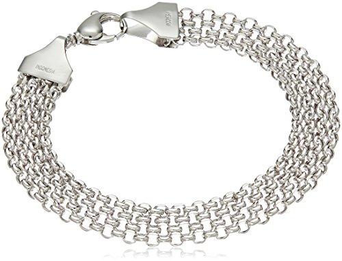 14k White Gold Multi-Row Bismark Chain Link Bracelet, 7.5