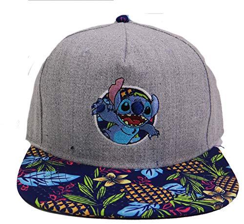 (Disney Lilo and Stitch Tropical Adjustable Baseball Cap Hat Grey)