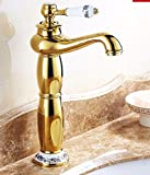 AWXJX European style copper hot and cold bath and sink gold Raised height single hole Sink mixer