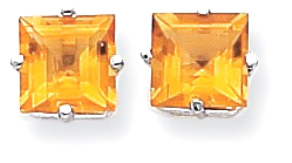 ICE CARATS 14k White Gold 7mm Princess Cut Yellow Citrine Post Stud Ball Button Earrings Gemstone Fine Jewelry Gift For Women Heart