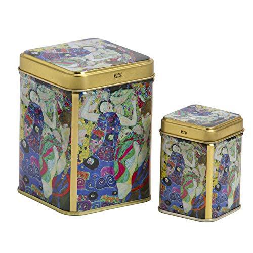 Aromas de Te - Juego de Latas de Metal para Te - Caja de Te/Recipiente Contenedor Almacenamiento de Te - Diseno Virgen Klimt - Capacidad 100 gr y 2