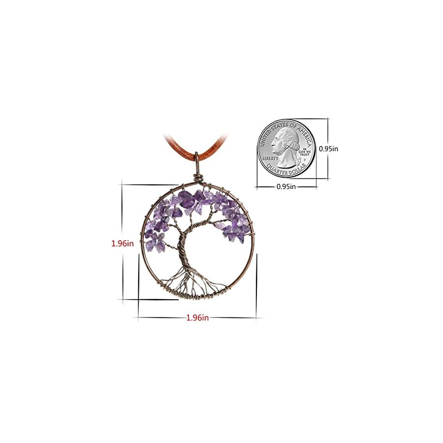 Family Tree of Life Pendant Amethyst Crystal Quartz Necklace 7 Chakras Opal Agate Gemstone Charms Jewelry Gift