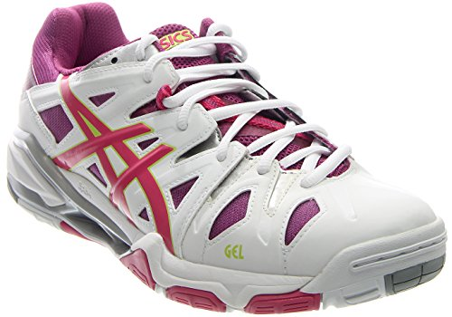 ASICS Women's Gel Sensei 5 Volley Ball Shoe,White/Magenta/Silver,12 M US
