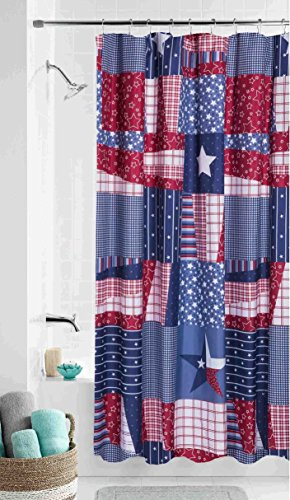 Americana Checkered Fabric Shower Curtain Red White Blue Star Country Bath Decor
