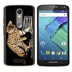 YiPhone /// Prima de resorte delgada de la cubierta del caso de Shell Armor - Ocicat Piel divertido lindo gatito Feline Breed - Motorola Moto X3 3rd Generation