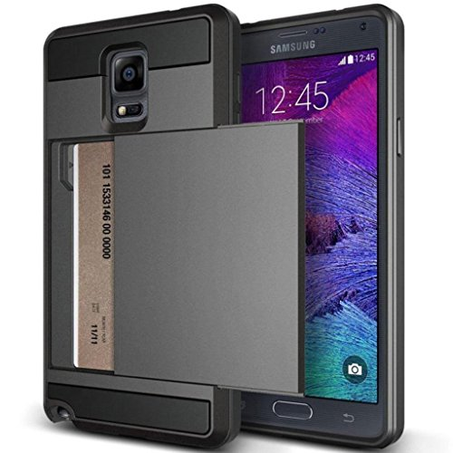 Note 3 Case, Anuck Protective Shell Galaxy Note 3 Wallet Case Card Pocket Shockproof Dual Layer Hybrid Rubber Bumper Case Cover with Card Slot Holder for Samsung Galaxy Note 3 - Gray