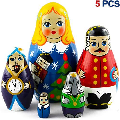 MATRYOSHKA&HANDICRAFT Nutcracker Nesting Dolls Set 5 pcs - Nutcracker Figures