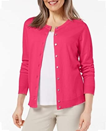6c6bb011397 Image Unavailable. Image not available for. Color  Karen Scott Womens  Jersey Cardigan Steel Rose Large