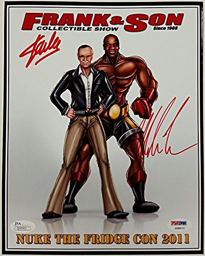 STAN LEE + MIKE TYSON Signed 8x10 Photo Autograph COA X08072 + JSA - PSA/DNA Certified - Autographed Boxing Photos