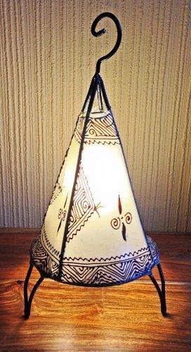 Lampara de mesa de Henna marroquí forma pirámide redonda color ...