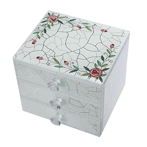White Roses 3 Drawers Mosaic Crystal Glass Jewelry Storage Box Organizer Case Display Printed by K&P