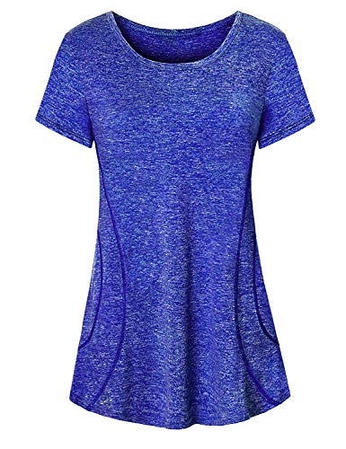 - Cute Workout Tops for Women,Cucuchy Ladies Running Shirts Stylish Crew Neck Short Sleeve Summer Top Cool Relaxed Breathable Yoga Shirt Light Soft Comfortable Bike Jersey Train Clothes Royal Blue XL