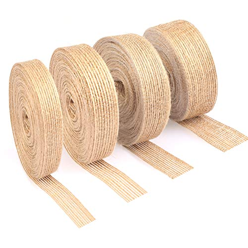 - TIMESETL 4 Rolls Burlap Ribbons 11 Yard Natural Vintage Jute Fabric Ribbons for Wedding Party Decoration Christmas Supplies