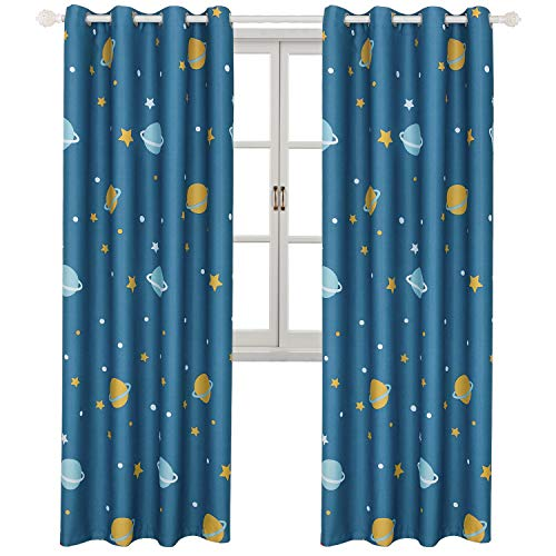 BGment Blackout Boy Curtains - Grommet Thermal Insulated Room Darkening Printed Star Planet Space Patterns Nursery and Kids Bedroom Curtains, Set of 2 Curtain Panels (52 x 84 Inch, Navy Blue)