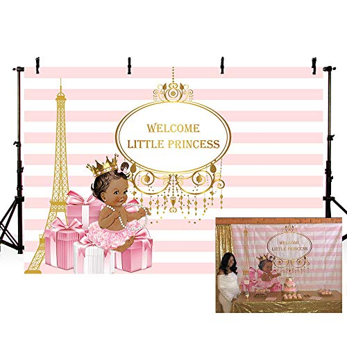 MEHOFOTO Welcome Little Princess Baby Shower Photo Background Girl Pink and White Stripe Gift Eiffel Tower Party Banner Backdrops for Photography 7x5ft -