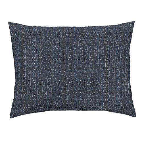 Roostery Sashiko Euro Knife Edge Pillow Sham Sashiko: Bishamon-Kikko - Tortoise Shell by Bonnie Phantasm Natural Cotton Sateen made by (Mix Tortoise Shell)