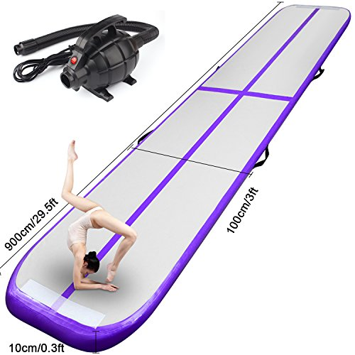 FBSPORT Inflatable Gymnastics AirTrack Tumbling Mat Air Track Floor Mats with Electric Air Pump for Home Use/Training/Cheerleading/Beach/Park and Water (Purple, 29)