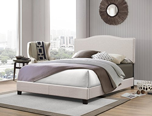 Furniture World Georgia Curved Upholstered Headboard with Nail-Head Accented Border, Queen, Cream (Footboard and Side Rails Sold (Cream Headboard)