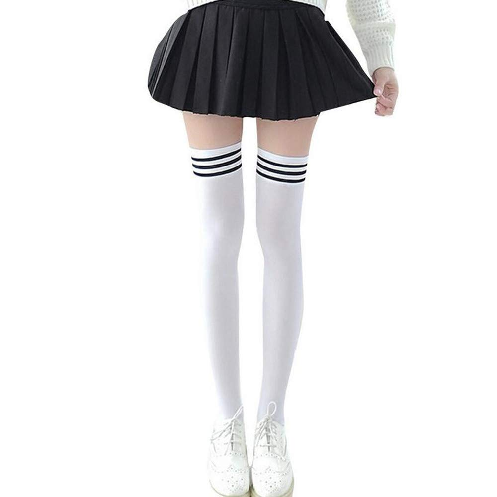 TIFENNY 1 Pair Fashion Thigh High Over Knee High Socks Girls Womens New Casual Knee Long Stockings (White 1, 55cm)