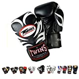 Auth Twins Special Muay Thai Boxing Gloves KickBoxing Muay Thai MMA K1 Gloves FBGV9 Tattoo/Black White Signature Gloves - 8,10,12,14,16 Oz (10 oz)