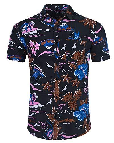 Patterned Linen Shirt - ALTOGUSTO Men's Flower Print Casual Button Down Short Sleeve Shirt Hawaiian Shirts XXXL
