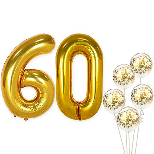 KatchOn Number 60 and Gold Confetti Balloons - Large, 40 Inch Foiil Gold Balloons | 5 Gold Confetti Balloons, 12 Inch | 60th Birthday Party Decorations | Party Supplies for Anniversary Décor ()