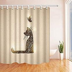 CdHBH - Cortina de Ducha con Diseño de Gato de Arena y Mariposa, 180 x 180 cm, Tela de poliéster Resistente al Moho, Ideal para Decorar Cortinas de Baño