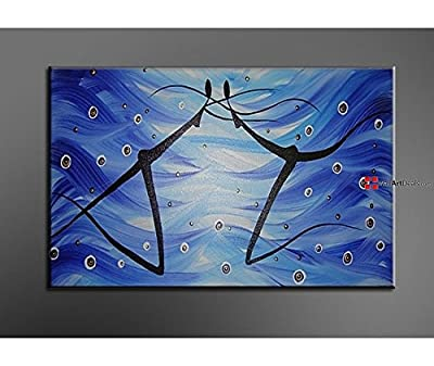 Modern Framed Blue Athletic Couple Wall Art Oil Painting 1 Piece