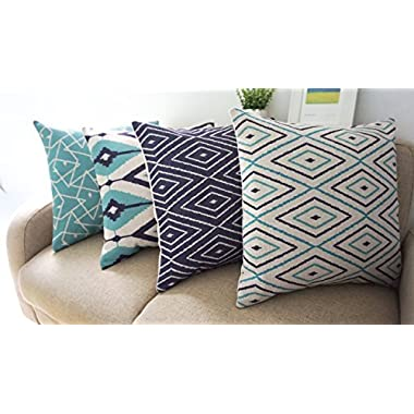 Howarmer® Square Cotton Linen Teal and Turquoise Decorative Throw Pillow Cover Set of 4 Blue Geometric 18 x 18