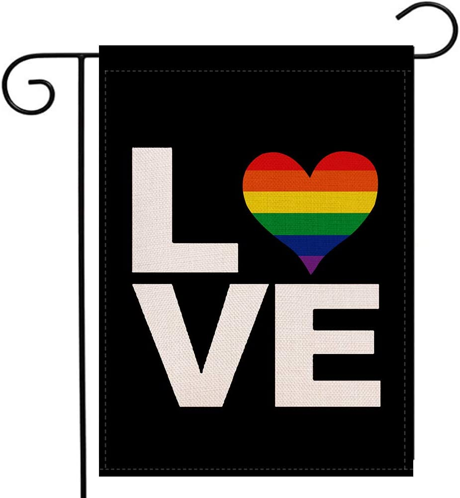 Rainbow Heart Love Garden Flag Vertical Double Sided Pride Gay Pride Lesbian LGBT, Pansexual Flag Yard Outdoor Flag 12.5 x 18 Inch