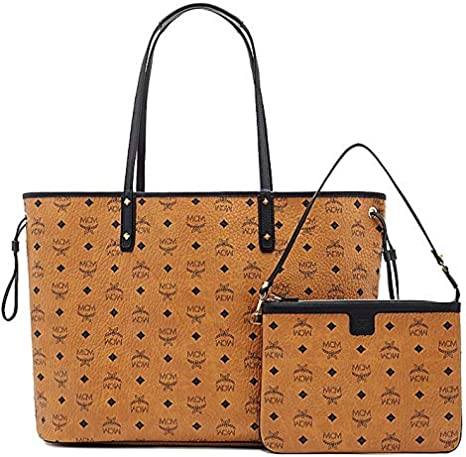 MCM Damen Reversible Shopper Project Visetos Large Cognac
