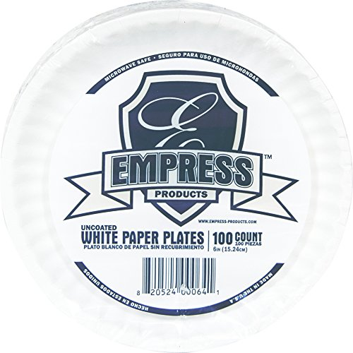 "Empress E30400 00066 Uncoated Paper Plate, 9"" Size, 6.25"" Height, 8.25"" Width, 12"" Length, White (Pack of 1000)"