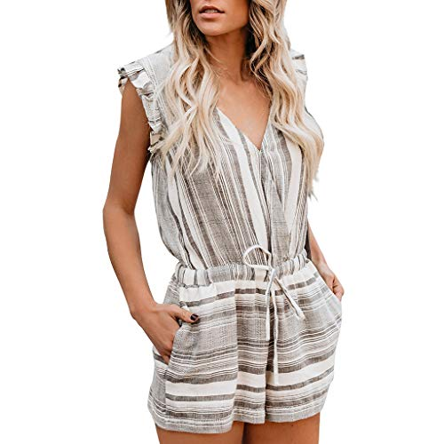 (Corriee Ladies Rompers Fashion Ruffles Sleeveless Stripe Jumpsuits Women Outfits Playsuits Gray)