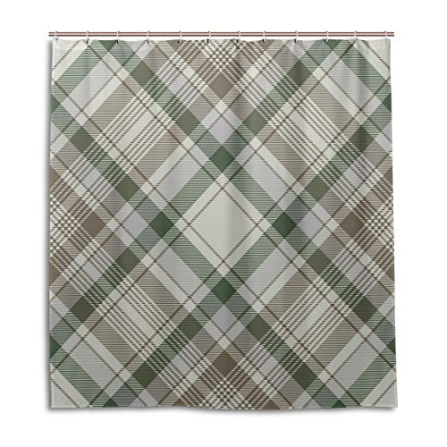 Amanda Billy Artistic Green Plaid Natural Home Shower Curtain, Beaded Ring, Shower Curtain 72 x 72 Inches, Modern Decorative Waterproof Bathroom Curtains