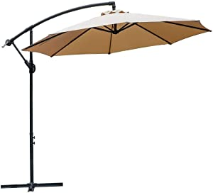 Kanstar 10 Ft Cantilever Patio Umbrellas, Blue Outdoor Water Resistant Offset Umbrella