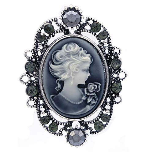 Soulbreezecollection Gray Cameo Brooch Pin Charm Women Necklace Pendant Compatible