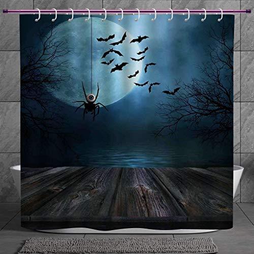 SCOCICI Fun Shower Curtain 2.0 [ Halloween Decorations,Misty Lake Scene Rusty Wooden Deck Spider Eyeball and Bats Moonlight,Blue Brown ] Polyester Fabric Bathroom Shower Curtain