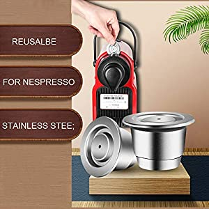 i Cafilas Reusable Coffee Capsules Stainless steel Tamper with Coffee Pod holder Set,Refillable Crema Capsules With Reusbale Lids Compatible for Nespresso OriginalLine Machine (Coffee pod holder set) (Color: Coffee pod holder set)