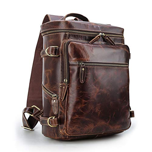 Men's Retro Classic Leather Casual School Case Travel Weekender Outdoor Sports 15.6 Inch Laptop Suitcase Luggage Daypack Overnight Backpack Shoulder Bag Tote Handbag Brown