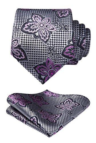 HISDERN Paisley Floral Dot Tie Handkerchief Wedding Party Woven Classic Men's Necktie & Pocket Square Set Pink / Gray Gray Floral Tie