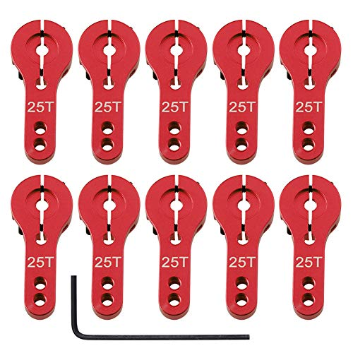 HobbyPark Aluminum Alloy 25T Servo Horns Metal Steering Arms Accessories for RC Car Boat Airplane Hobby Models(10-Pack) (25T, Red)