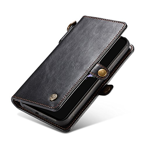 amp; Horse Pour Magnétique Portefeuille Black Card color Texture Cuir Séparable Iphone Flip Coffee Slot X Crazy Avec Simple En Fashion Zipper dgzfW0xd