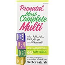 Webber Naturals Multisure Prenatal with Dha, Ginger and Lutein, 60-Count