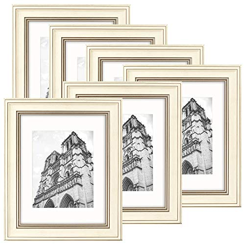 Golden State Art, Set of 6, 11x14 Cream Color Photo Frame with Brown Trim, White Mat for 8x10 Pictures, 2 inch Molding, and Real Glass (Cream Frame Photo Collage)
