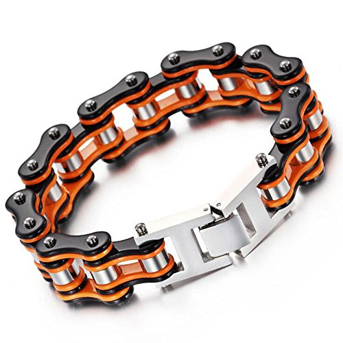 Qiaonitu Mens Stainless Steel Motorcycle Bike Biker Bicycle Chain Bracelet Black Orange-Tone 8.66 inches