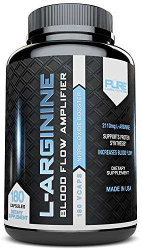 L-Arginine PURE-A 2110mg (180 capsules) L Arginine Nitric Oxide Booster, Build Muscle Increase Strength and Boost Sex Drive - Best Purest Arginine + Top Rated - Most Effective Dose - MADE IN USA