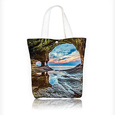 Canvas Tote Bags Rock Shelter with Magical Up on the Sea Mediterranean Wonders Wet Design Your Own Party Favor Pack Tote Canvas Bags by Big Mo's Toys W11xH11xD3 INCH